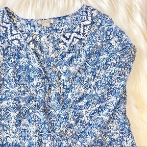 Lucky Brand Printed Embroidered Tunic Top Sz L